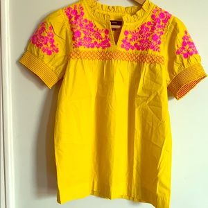 J crew embroidered cotton poplin top XS NWT